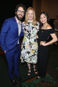 NEW YORK, NY - MAY 03: Josh Groban, Laura Linney, and Eva Noblezada attends the 2017 Tony Awards Meet The Nominees Press Junket at the Sofitel Hotel on May 3, 2017 in New York City. (Photo by Jemal Countess/Getty Images for Tony Awards Productions)