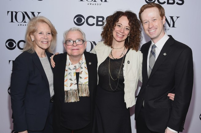 NEW YORK, NY - MAY 03: (L-R) Daryl Roth, Paula Vogel, Rebecca Taichman and Cody Lassen attend the 2017 Tony Awards Meet The Nominees Press Junket at the Sofitel Hotel on May 3, 2017 in New York City. (Photo by Dimitrios Kambouris/Getty Images for Tony Awards Productions)