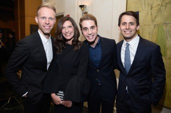 NEW YORK, NY - JUNE 05: (L-R) Justin Paul, Stacey Mindich, Ben Platt and Benj Pasek attend the Tony Honors Cocktail Party Presenting The 2017 Tony Honors For Excellence In The Theatre And Honoring The 2017 Special Award Recipients - Arrivals at Sofitel Hotel on June 5, 2017 in New York City. (Photo by Jenny Anderson/Getty Images for Tony Awards Productions)