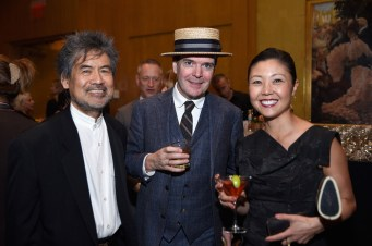 NEW YORK, NY - JUNE 05: (L-R) David Henry Hwang, Jefferson Mays and Linda Cho attend the Tony Honors Cocktail Party Presenting The 2017 Tony Honors For Excellence In The Theatre And Honoring The 2017 Special Award Recipients - Arrivals at Sofitel Hotel on June 5, 2017 in New York City. (Photo by Jenny Anderson/Getty Images for Tony Awards Productions)