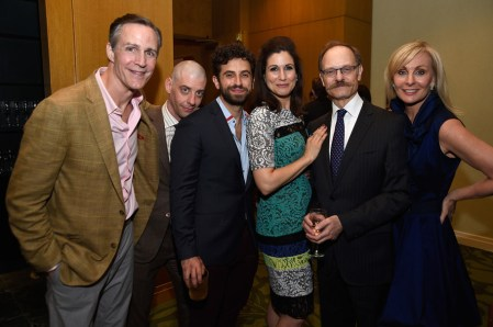 (L-R) Howard Mcgillin, Christian Borle, Brandon Uranowitz, Stephanie J. Block, David Hyde Pierce and Judy MClane attend the Tony Honors Cocktail Party Presenting The 2017 Tony Honors For Excellence In The Theatre And Honoring The 2017 Special Award Recipients . (Photo by Jenny Anderson/Getty Images for Tony Awards Productions)