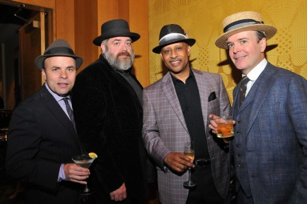 JT Rogers, David Gallo, Ruben Santiago-Hudson, and Jefferson Mays (l. to r.) attend the Tony Honors Cocktail Party Presenting The 2017 Tony Honors For Excellence In The Theatre And Honoring The 2017 Special Award Recipients - at Sofitel Hotel on June 5, 2017 in New York City. Credit: Shevett Studios