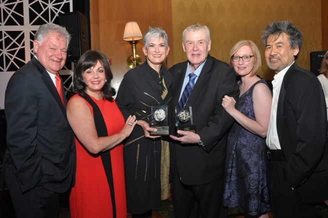 Bob Wankel, Charlotte St. Martin, Nina Lannan, Alan Wasser, Heather Hitchens, and David Henry Hwang (l. to r.) attend the Tony Honors Cocktail Party Presenting The 2017 Tony Honors For Excellence In The Theatre And Honoring The 2017 Special Award Recipients - at Sofitel Hotel on June 5, 2017 in New York City. Credit: Shevett Studios