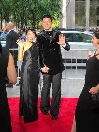 Baayork Lee and designer Malan Breton arrive at the 2017 Tony Awards at Radio City Music Hall on June 11, 2017 in New York City. Photo: NAAP/Facebook