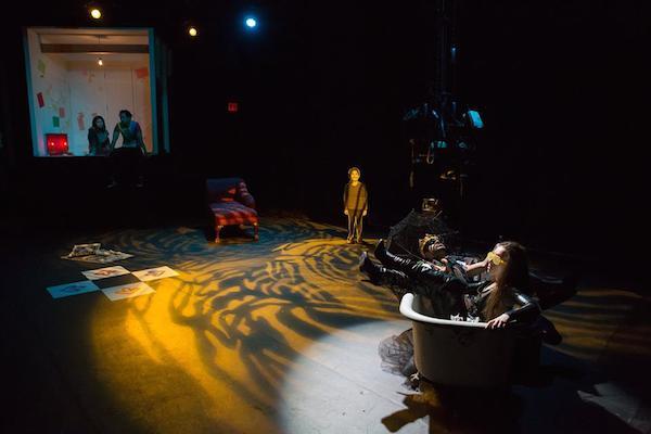 Carolina Do, Roger Yeh, Gerardo Pelati and Meilin Gray in Frances Ya-Chu Cowhig's 410[GONE]. Photo by Hunter Canning