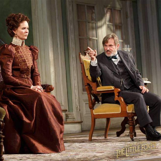 Cynthia Nixon as Regina and Richard Thomas as Horace in MTC's THE LITTLE FOXES. Photo by Joan Marcus