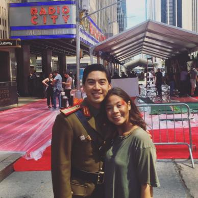 MISS SAIGON'S Devin Ilaw and Eva Noblezada after rehearsal for the 2017 Tony Awards at Radio City Music Hall on June 11, 2017. Photo: Devin Ilaw/Facebook