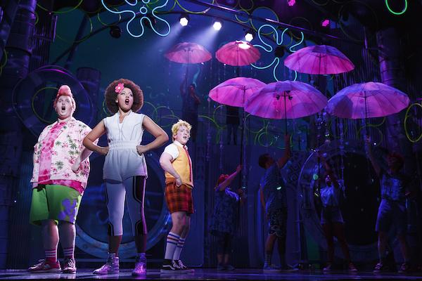 Danny Skinner, Lilli Cooper and Ethan Slater in The SpongeBob Musical Photograph: Joan Marcus