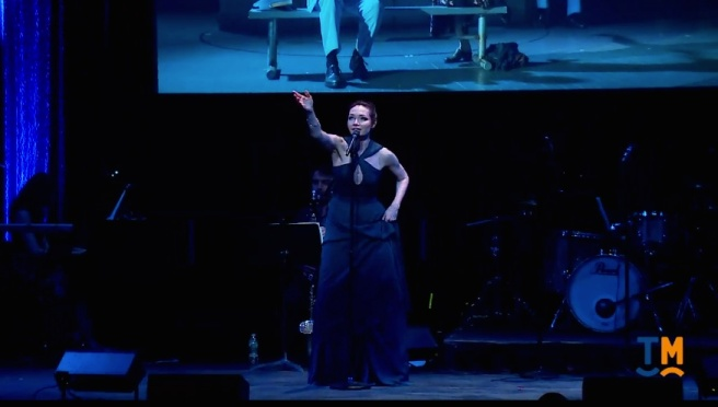 THE BANDS VISIT'S Katrina Lenk performs at the Drama Desk Awards at The Town Hall on June 4, 2017.