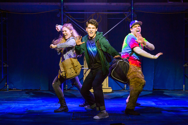 Kristin Stokes, Chris McCarrell and George Salazar in THE LIGHTNING THIEF. Photo by Jeremy Daniel.