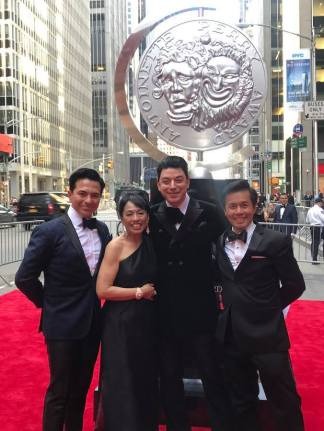 Luis Villabon, Baayork Lee, Malan Breton and Steven Eng (Co-Founder of National Asian Artists Project, Inc.) attend the 2017 Tony Awards at Radio City Music Hall on June 11, 2017 in New York City. Photo: NAAP/Facebook