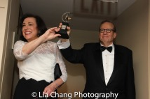MTC's Artistic Director Lynne Meadow and Executive Director Barry Grove arrive with the Tony Award. Photo by Lia Chang