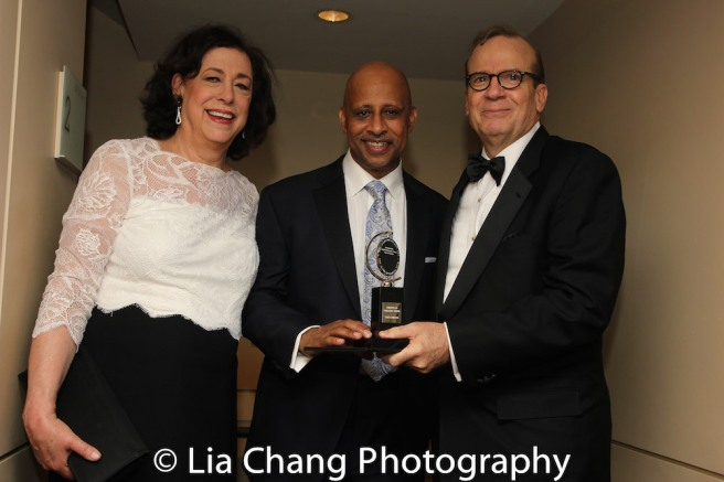 MTC's Artistic Director Lynne Meadow, Director Ruben Santiago-Hudson and MTC's Executive Director Barry Grove at the Samuel J. Friedman Theatre after the Tony Awards Ceremony on June 11, 2017. Photo by Lia Chang