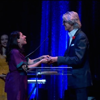 Tommy Tune presents Rachel Chavkin with the Outstanding Director for a Musical Drama Desk Award for Natasha, Pierre & the Great Comet of 1812 at the 62nd Annual Drama Desk Awards Ceremony at The Town Hall on June 4, 2017.