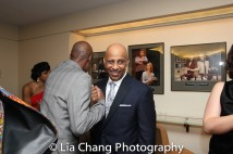 Brian D. Coats congratulates Ruben Santiago-Hudson. Photo by Lia Chang