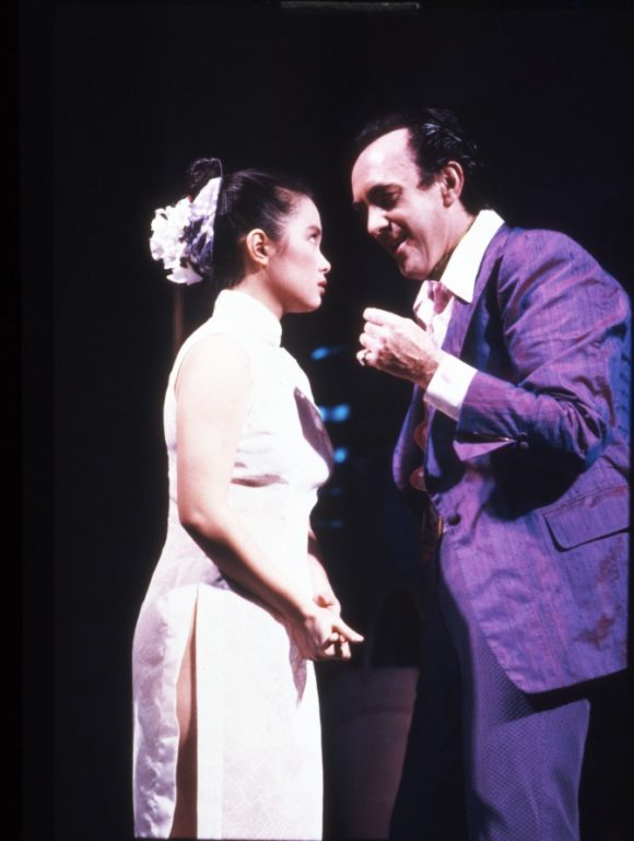 Lea Salonga as Kim and Jonathan Pryce as The Engineer in Miss Saigon, London Photograph: Michael Le Poer Trench © Cameron Mackintosh Ltd