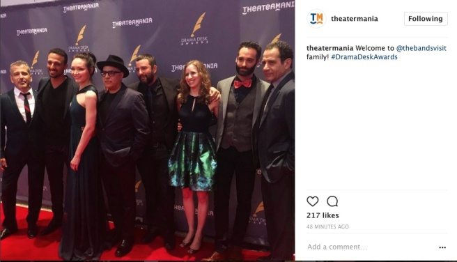 THE BAND'S VISIT on the Drama Desk Awards red carpet at The Town Hall in New York on June 4, 2017. Photo: Instagram