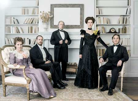 "Laura Linney as Birdie Hubbard, Darren Goldstein as Oscar Hubbard, Michael McKean as Ben Hubbard, Cynthia Nixon as Regina Giddens, and Richard Thomas as Horace Giddens in ""The Little Foxes"". Photo by Jason Bell"