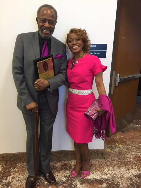 2017 National Black Theatre Festival Living Legend honoree Ed Wheeler and his wife Messeret Stroman at the 2017 NBTF Gala in Winston Salem, NC on July 31, 2017. (Courtesy of Messeret Stroman)