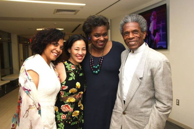 Rachel Leslie, Lia Chang, Kirsten Childs and André De Shields at the Connecticut Critics Circle Award ceremony in Fairfield, CT on June 26, 2017. Photo by Garth Kravits