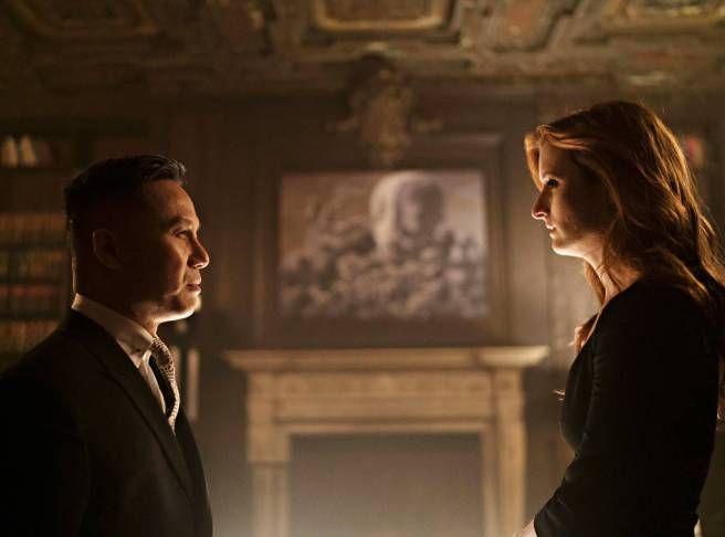 """BD Wong as Minister Zhang and Grace Gummer as Dominique """"Dom"""" DiPierro in MR. ROBOT. Photo: USA"""