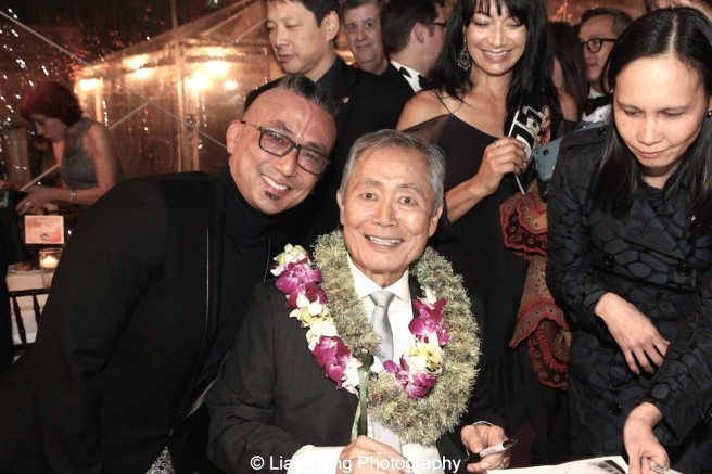 Paul Nakauchi and George Takei at the opening night party of Broadway's ALLEGIANCE at Bryant Park Grill on November 8, 2017 in New York. Photo by Lia Chang