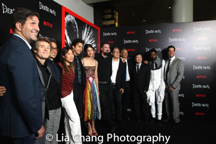 Co-writer Charlie Parlapanides, actors Willem Dafoe, Paul Nakauchi, Nat Wolff, Margaret Qualley, director Adam Wingard, actor Shea Whigham, producers Roy Lee, Jason Hoffs and Masi Oka, actor LaKeith Stanfield and co-writer Vlas Parlapanides attend the 'Death Note' New York premiere at AMC Loews Lincoln Square 13 theater on August 17, 2017 in New York City. Photo by Lia Chang
