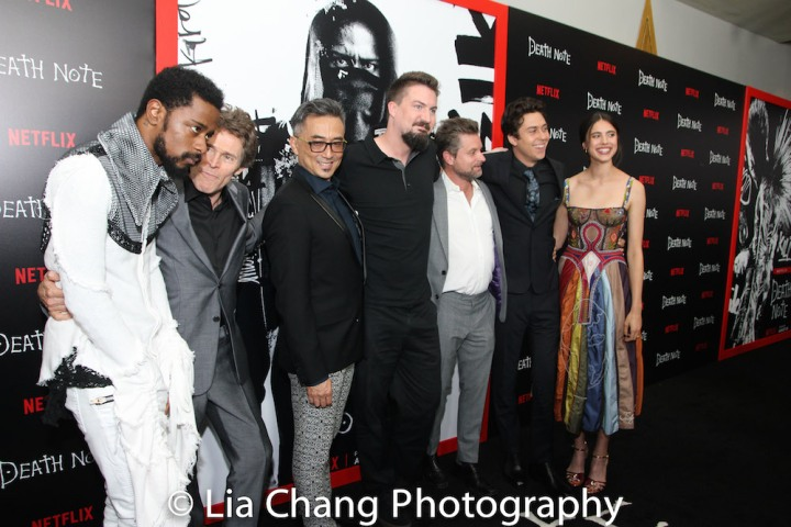 LaKeith Stanfield, Willem Dafoe, Paul Nakauchi, director Adam Wingard, Shea Whigham, Nat Wolff, Margaret Qualley attend the 'Death Note' New York premiere at AMC Loews Lincoln Square 13 theater on August 17, 2017 in New York City. Photo by Lia Chang