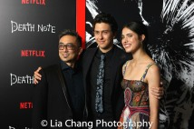 Paul Nakauchi, Nat Wolff and Margaret Qualley attend the 'Death Note' New York premiere at AMC Loews Lincoln Square 13 theater on August 17, 2017 in New York City. Photo by Lia Chang