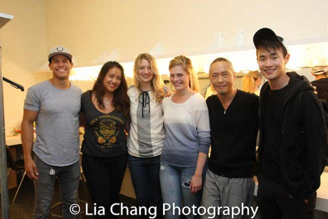 NOMAD MOTEL cast members Alex Hernandez, Michelle Vergara Moore, Heidi Schreck, Molly Griggs, Ken Leung and Christopher Larkin. Photo by Lia Chang