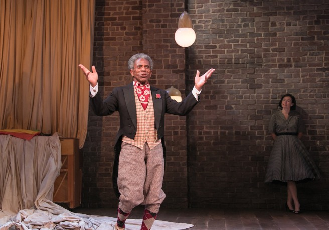 André De Shields​ as Touchstone and Hannah Cabell​ as Rosalind in AS YOU LIKE IT at Bay Street Theater​. Copyright Lenny Stucker