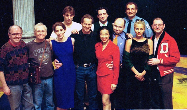 CHICAGO cast on the set with Sam Shepard at the Public Theater in New York in 1996. Photo courtesy of Lia Chang
