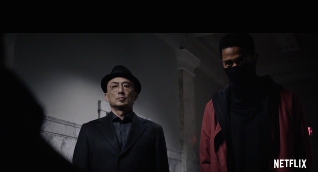 Paul Nakauchi as Watari and LaKeith Stanfield as L in NetFlix's