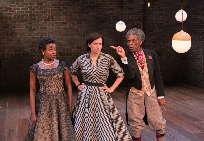Quincy Tyler Bernstine as Celia, Hannah Cabell as Rosalind and André De Shields as Touchstone in AS YOU LIKE IT. Copyright Lenny Stucker