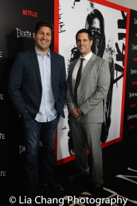 Screenwriters Charley Parlapanides (L) and Vlas Parlapanides attend the 'Death Note' New York premiere at AMC Loews Lincoln Square 13 theater on August 17, 2017 in New York City. Photo by Lia Chang