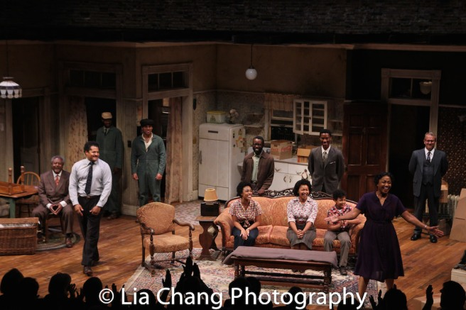 Willie Dirden, Brandon J. Dirden, Andrew Binger, David Joel Rivera, Jasmine Batchelor, Charlie Hudson III, Crystal A. Dickinson, York Walker, Owen Tabaka, Brenda Pressley and Nat DeWolf during the opening night curtain call for Two River Theater's A RAISIN IN THE SUN. Photo by Lia Chang