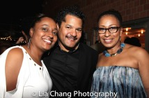 A guest, Brandon J. Dirden and Tamara Tunie. Photo by Lia Chang