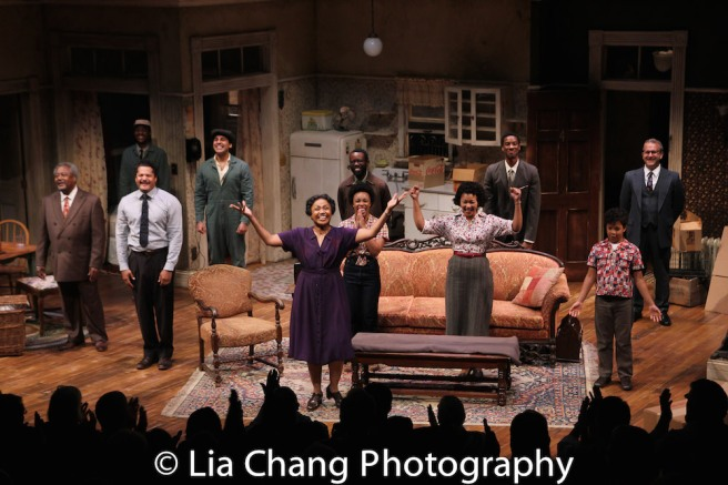 Willie Dirden, Brandon J. Dirden, Andrew Binger, David Joel Rivera, Brenda Pressley, Jasmine Batchelor, Charlie Hudson III, Crystal A. Dickinson, York Walker, Owen Tabaka, and Nat DeWolf during the opening night curtain call for Two River Theater's A RAISIN IN THE SUN on September 15, 2017. Photo by Lia Chang