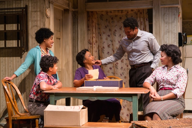 Jasmine Batchelor (Beneatha Younger), Owen Tabaka (Travis Younger), Brenda Pressley (Lena Younger), Brandon J. Dirden (Walter Lee Younger) and Crystal A. Dickinson (Ruth Younger) in A Raisin in the Sun at Two River Theater. Photo by T. Charles Erickson