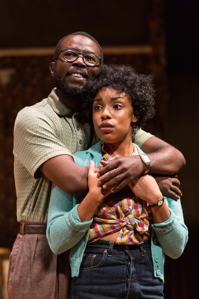 Charlie Hudson III (Joseph Asagai) and Jasmine Batchelor (Beneatha Younger) in A Raisin in the Sun at Two River Theater. Photo by T. Charles Erickson