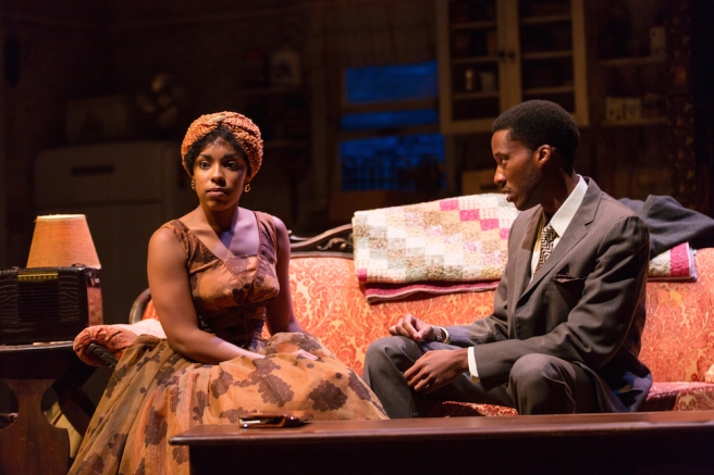 Jasmine Batchelor (Beneatha Younger) and York Walker (George Murchison) in A Raisin in the Sun at Two River Theater. Photo by T. Charles Erickson