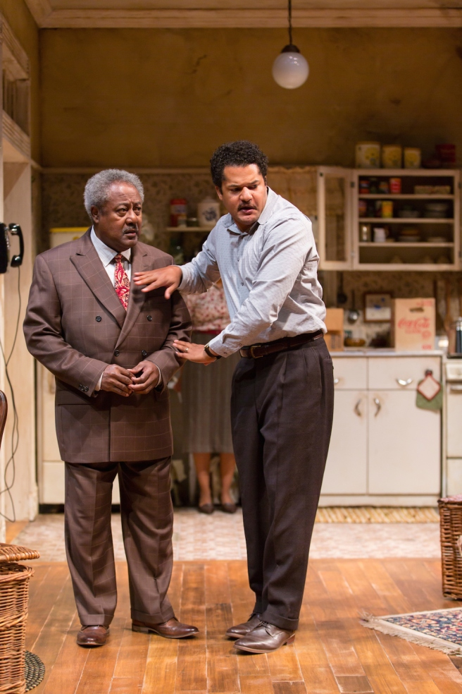 Willie Dirden (Bobo) and Brandon J. Dirden (Walter Lee Younger) in A Raisin in the Sun at Two River Theater. Photo by T. Charles Erickson