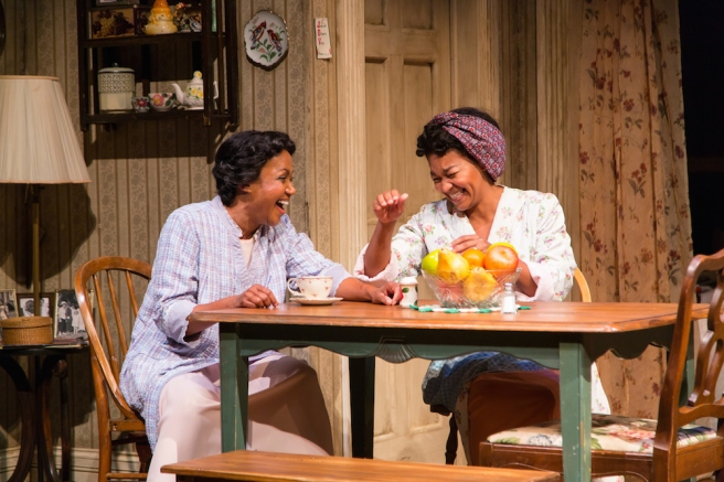 Brenda Pressley (Lena Younger) and Crystal A. Dickinson (Ruth Younger) in A Raisin in the Sun at Two River Theater. Photo by T. Charles Erickson