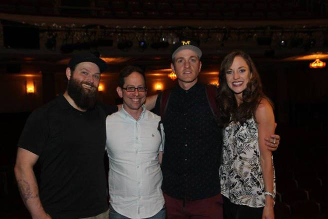 Brandon James Ellis, Garth Kravits, Geoff Packard and Laura Osnes. Photo by Lia Chang