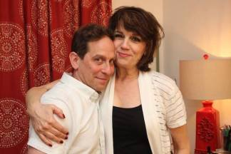 Garth Kravits visits with his DROWSY CHAPERONE cast mate Beth Leavel. Photo by Lia Chang