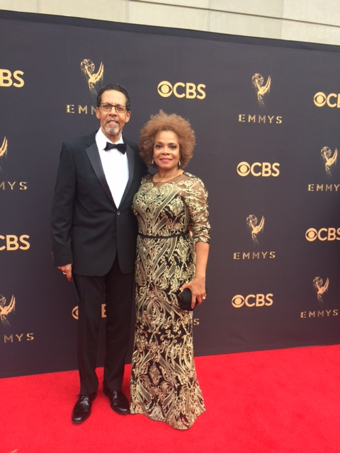 Peter Jay Fernandez and his wife Denise Burse attend the 69th Annual Primetime Emmy Awards at Microsoft Theater on September 17, 2017 in Los Angeles, California.