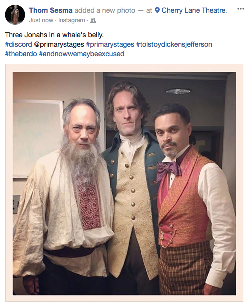 "Thom Sesma as ""Leo Tolstoy,"" Michael Laurence as ""Thomas Jefferson,"" and Duane Boutté as ""Charles Dickens."" Photo courtesy of Thom Sesma"