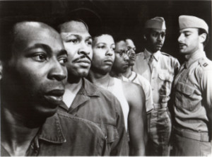 "Original cast of ""A Soldier's Play"" by Charles Fuller, presented by Negro Ensemble Company at Theatre Four, 1981. Brent Jennings, Steven Jones, Eugene Lee, Denzel Washington, Samuel L. Jackson, Jame Pickens and Reyno Shine. Photo by Bert Andrews"