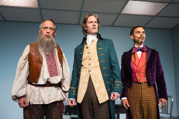 Thom Sesma, Michael Laurence, and Duane Boutté star in Scott Carter's The Gospel According to Thomas Jefferson, Charles Dickens and Count Leo Tolstoy: Discord, directed by Kimberly Senior, for Primary Stages at the Cherry Lane Theatre. (© Jeremy Daniel)