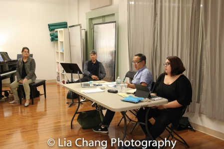 GOLD MOUNTAIN Musical Director Kristen Rosenfeld, Creator Jason Ma, Director Alan Muraoka and ASM Christina Russo. Photo by Lia Chang